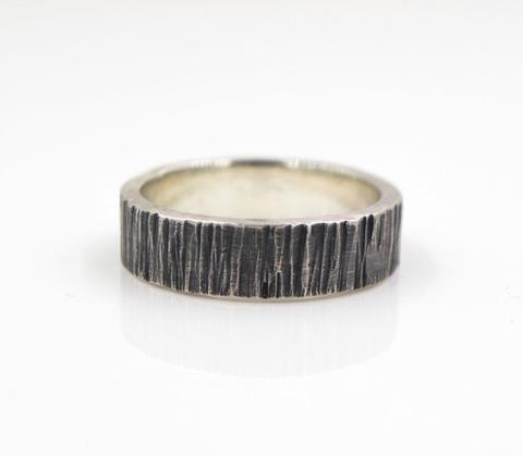 Mens Wood Grain Silver Ring - shopcontrabrands.com