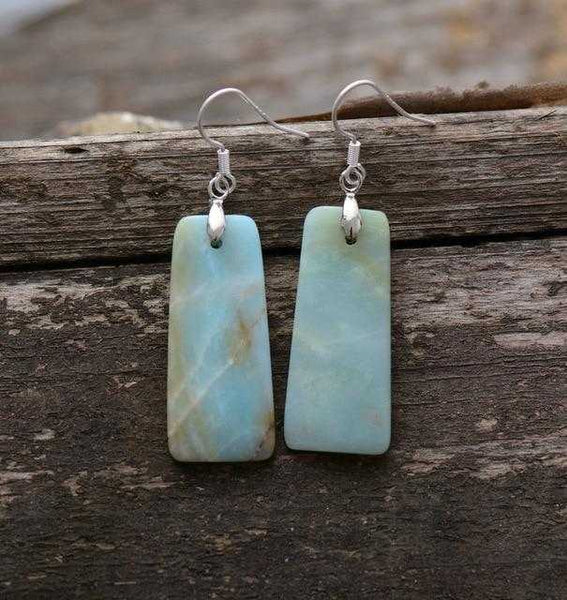 Women Dangle Earrings Natural Amazonite Bohemia | shopcontrabrands.com