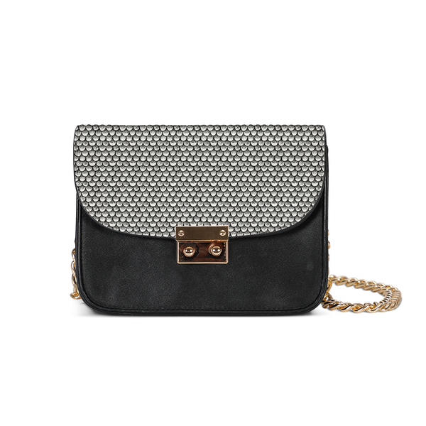 Stippled Scales in Monochrome Small Shoulder Bag | shopcontrabrands.com