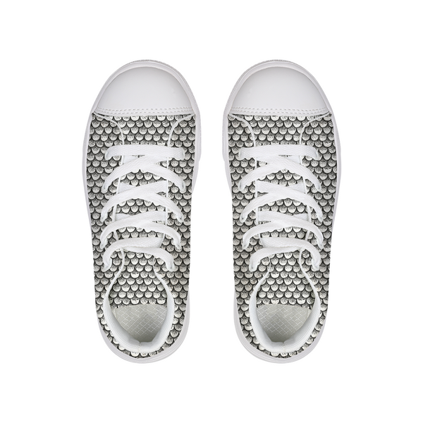 Stippled Scales in Monochrome Kids Hightop Canvas Shoe | shopcontrabrands.com