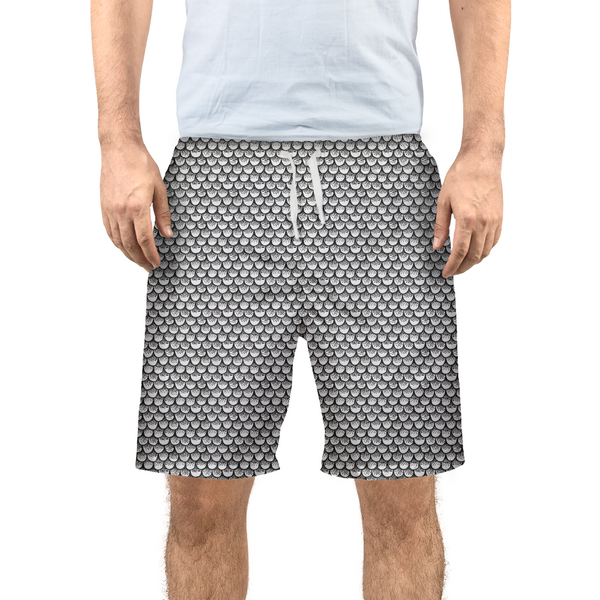 Stippled Scales in Monochrome Men's Swim Trunk
