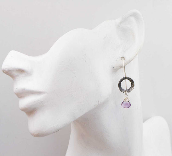 Amethyst - Sterling Silver - Textured - Disk Earrings - shopcontrabrands.com