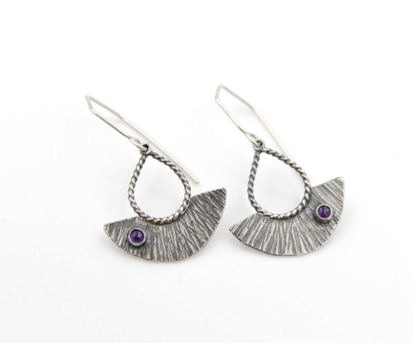 Hammered Amethyst Shield Drop Sterling Silver Earrings - shopcontrabrands.com