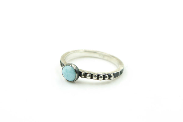 Larimar Stacking Ring w/ Hammer Textured Band in Recycled Sterling Silver - shopcontrabrands.com