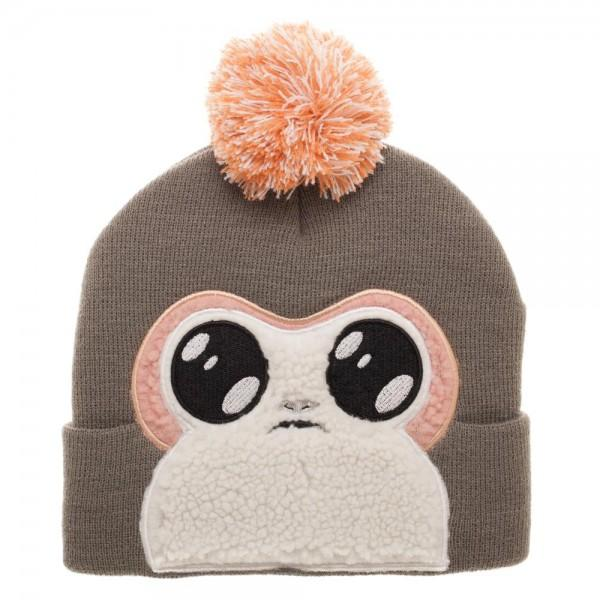 Porg Faux Fur Applique Big Face Beanie | shopcontrabrands.com