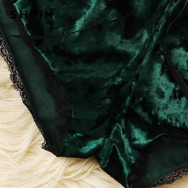 Lace & Satin Womens Pajamas - Emerald - shopcontrabrands.com