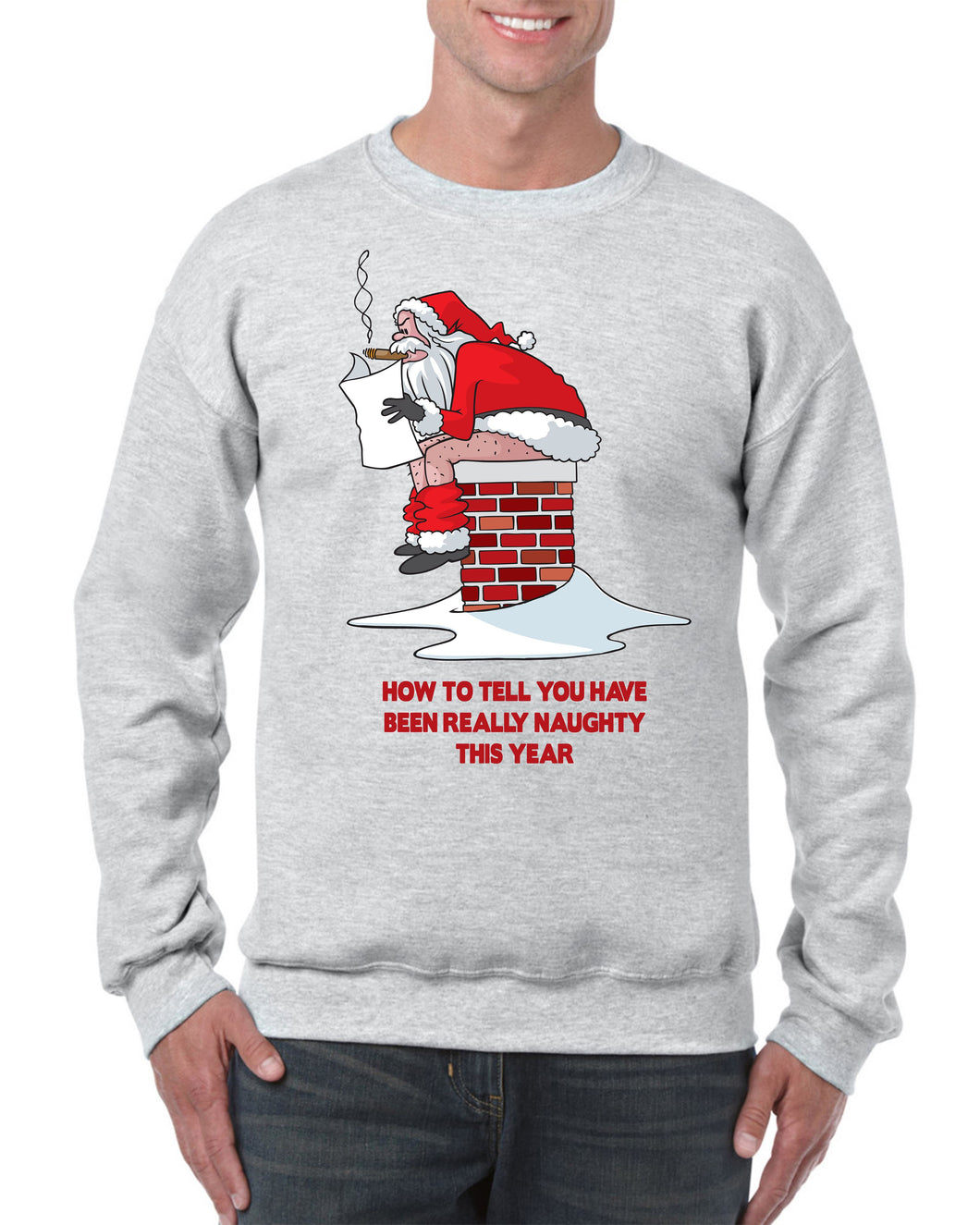 HOW TO TELL YOU'VE BEEN NAUGHTY CHRISTMAS SWEATER Jumper BanterKing Small Grey 1 JUMPER