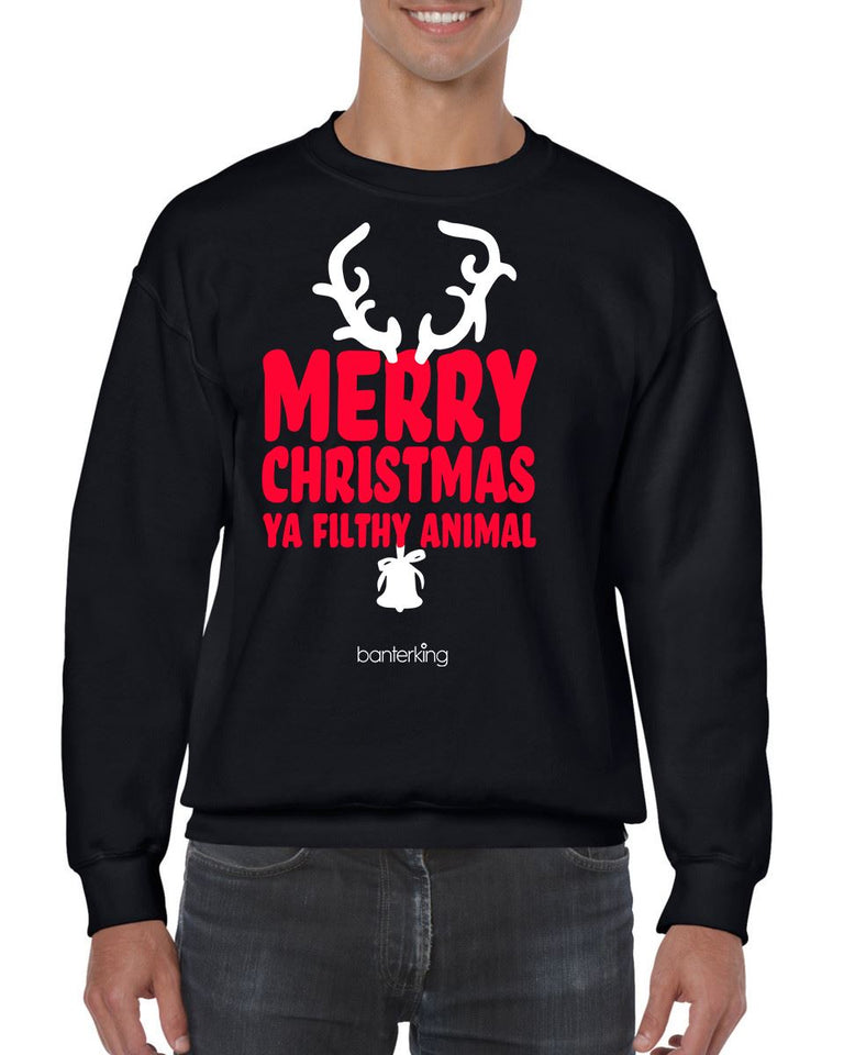 MERRY CHRISTMAS YA FILTHY CHRISTMAS JUMPER BanterKing SMALL BLACK 1 JUMPER