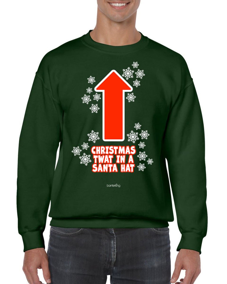 CHRISTMAS TWAT CHRISTMAS JUMPER BanterKing SMALL GREEN 1 JUMPER