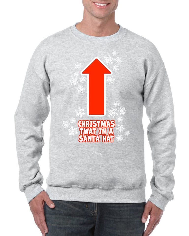 CHRISTMAS TWAT CHRISTMAS JUMPER BanterKing SMALL GREY 1 JUMPER