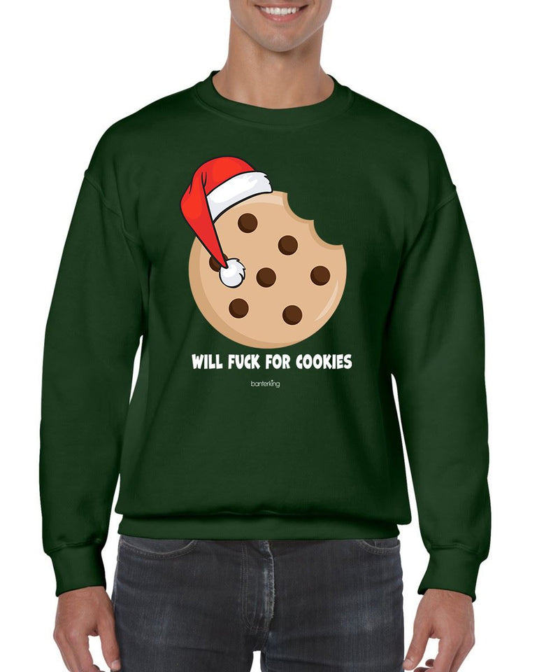 WILL F FOR COOKIES CHRISTMAS JUMPER BanterKing SMALL GREEN 1 JUMPER