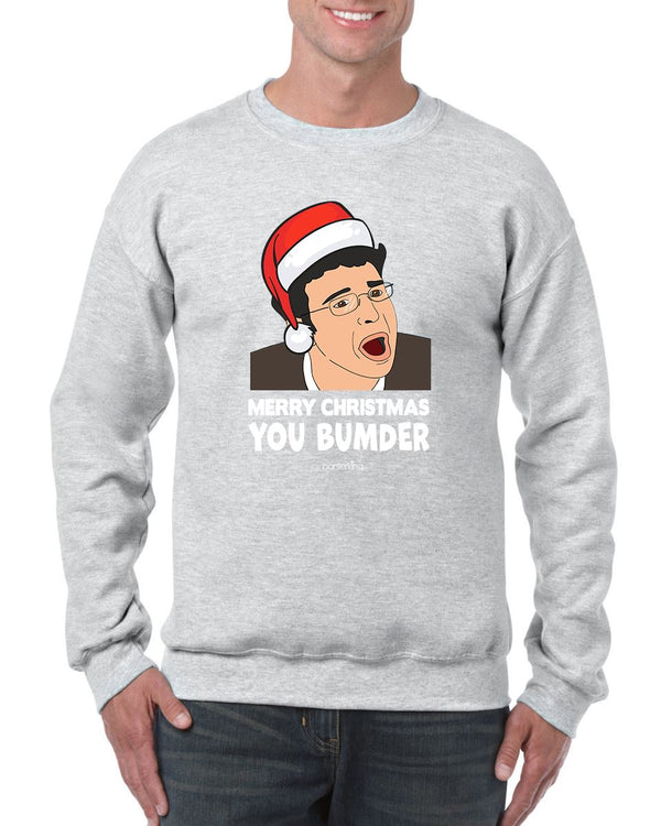 MERRY CHRISTMAS BUMDER CHRISTMAS JUMPER BanterKing SMALL GREY 1 JUMPER