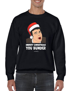 MERRY CHRISTMAS BUMDER CHRISTMAS JUMPER BanterKing SMALL BLACK 1 JUMPER