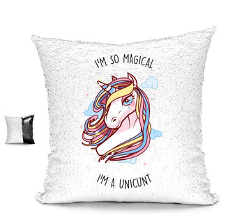 I'M SO MAGICAL I'M A UNICUNT SEQUIN CUSHION Cushions BanterKing Black/White No