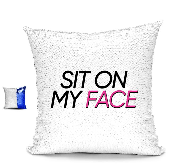 SIT ON MY FACE CUSHION Cushions BanterKing Pink/White No