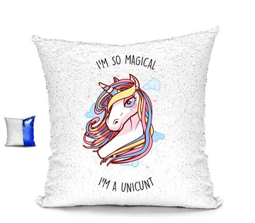I'M SO MAGICAL I'M A UNICUNT SEQUIN CUSHION Cushions BanterKing Blue/White No