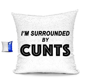 I'M SURROUNDED BY CUNTS CUSHION Cushions BanterKing Blue/White No