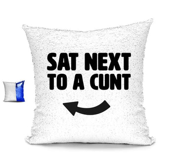 SAT NEXT TO A CUNT CUSHION Cushions BanterKing Blue/White No