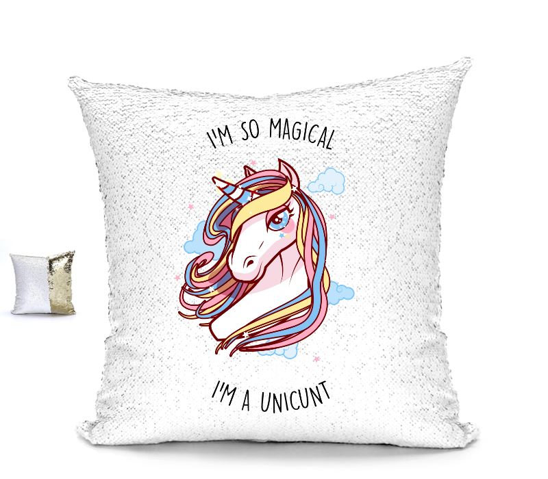 I'M SO MAGICAL I'M A UNICUNT SEQUIN CUSHION Cushions BanterKing Gold/White No