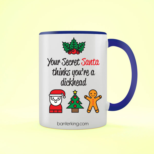 SECRET SANTA D HEAD TWO TONED LARGE 11 OZ BANTER MUG Mug BanterKing Black 1 MUG