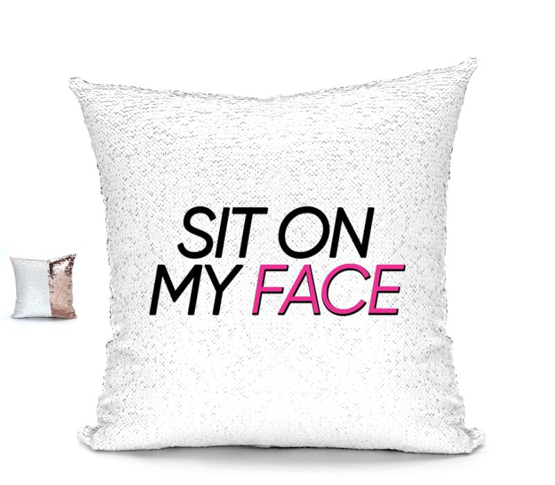 SIT ON MY FACE CUSHION Cushions BanterKing RoseGold/White No