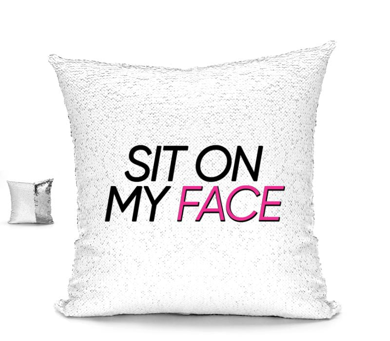 SIT ON MY FACE CUSHION Cushions BanterKing Silver/White No