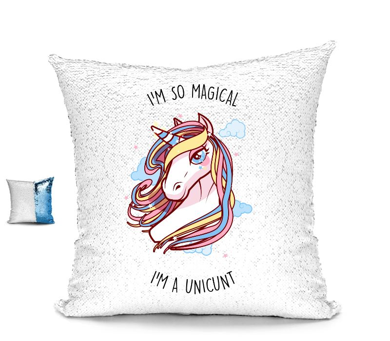 I'M SO MAGICAL I'M A UNICUNT SEQUIN CUSHION Cushions BanterKing