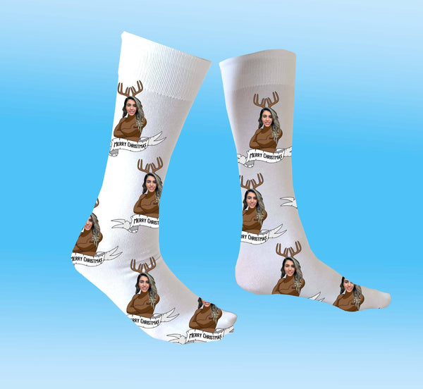 (ADD ANY FACE) MAKE YOUR OWN NAUGHTY DEER SOCKS BanterKing
