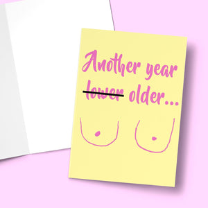 Another year older Card (Boobs) Greeting Card Stationery Prodigi