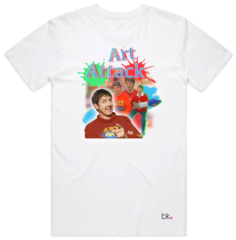 Art Attack Retro T-Shirt T'shirt BanterKing Small White