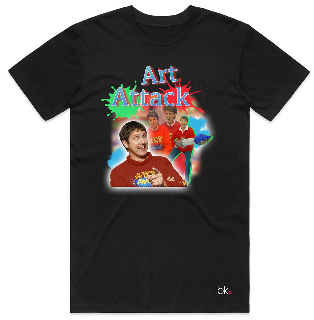 Art Attack Retro T-Shirt T'shirt BanterKing Small Black