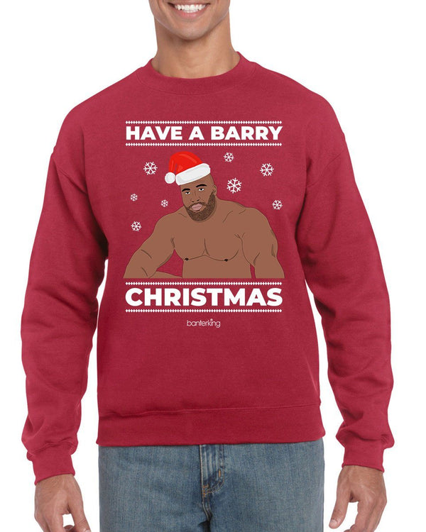 Barry Christmas, Christmas Jumper (Unisex) Jumper Inkthreadable Small Grey