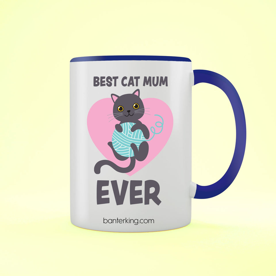 Best Cat Mum Two Toned Large 11 oz Banter Mug Mug BanterKing Blue 1 MUG