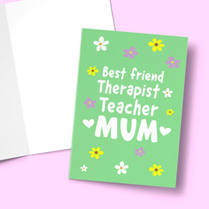 "Best Friend, Therapist Teacher Mother's Day Card Stationery Prodigi 5""x7"" 1 Card"