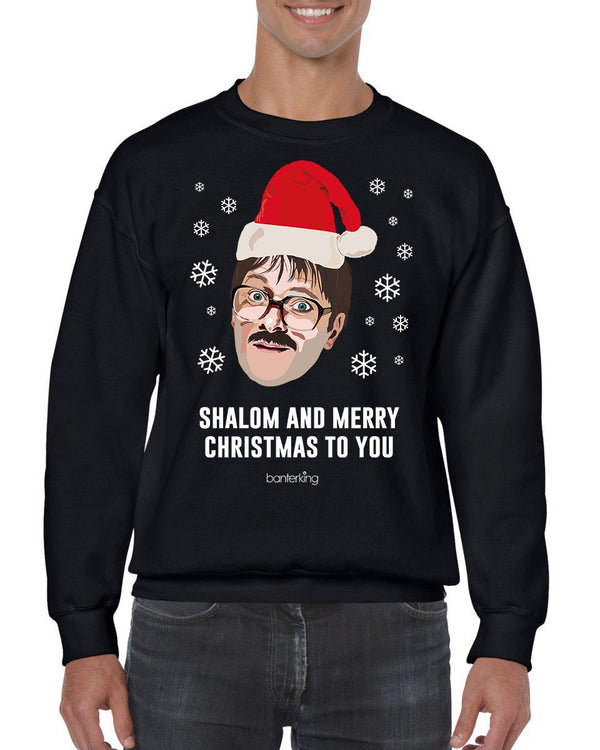 Big Shalom Head, Christmas Jumper (Unisex) Jumper BanterKing Small Black