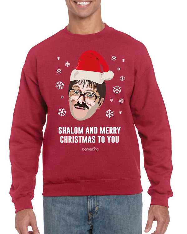 Big Shalom Head, Christmas Jumper (Unisex) Jumper BanterKing Small Grey