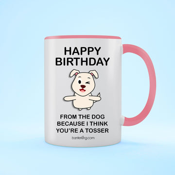 Birthday Dog Two Toned 11oz Birthday Mug Mug BanterKing Pink 1 MUG