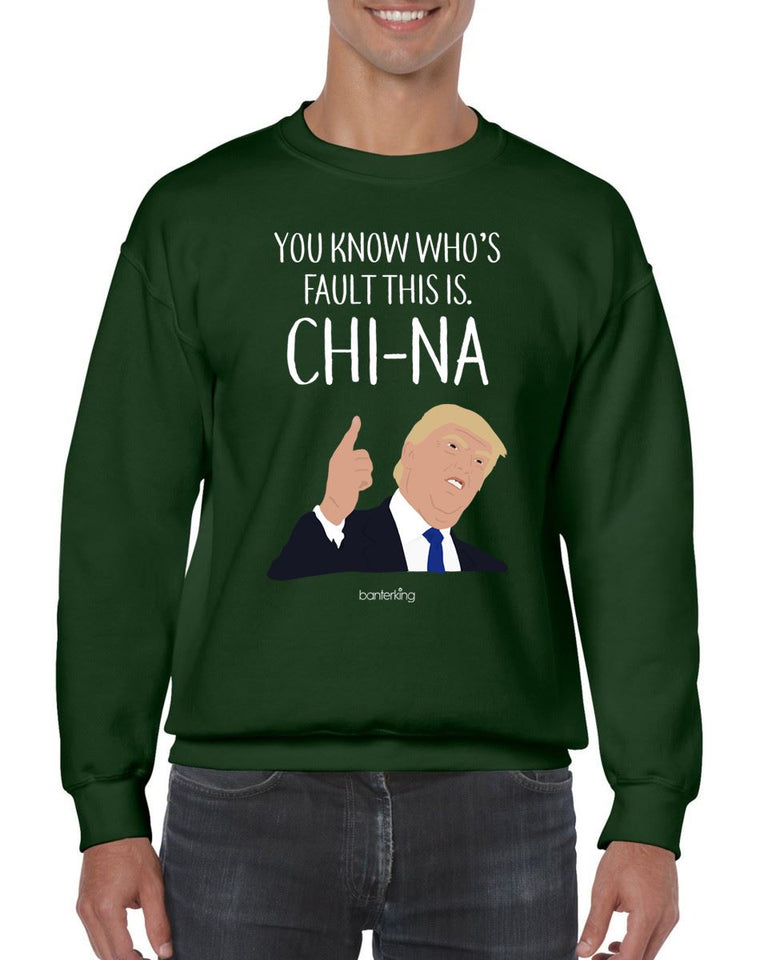 China's Fault Trump, Christmas Jumper (Unisex) Jumper BanterKing Small Green