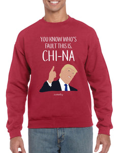 China's Fault Trump, Christmas Jumper (Unisex) Jumper BanterKing Small Red