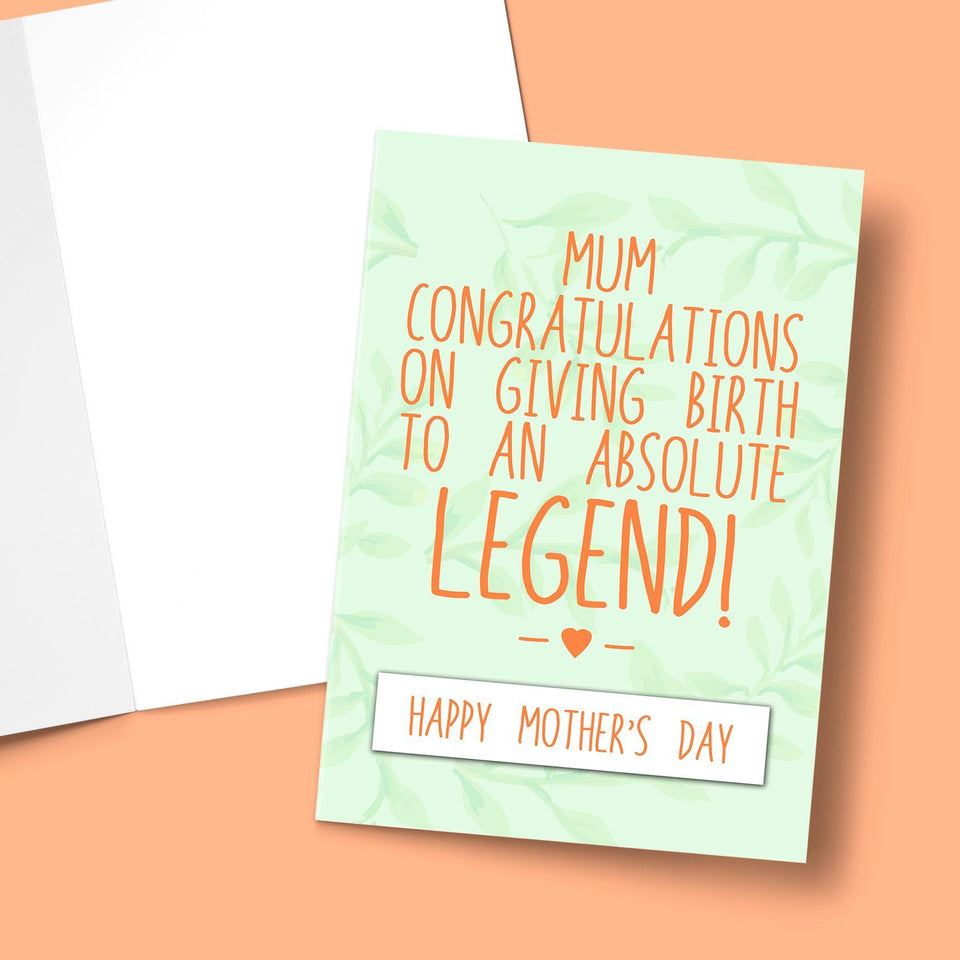 "Congratulations On Giving Birth Mother's Day Card Stationery Prodigi 5""x7"" 1 Card"