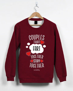 Couples That Fart Together Valentine's Jumper Jumper Inkthreadable Small Red