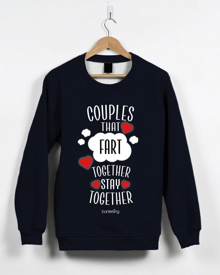 Couples That Fart Together Valentine's Jumper Jumper Inkthreadable Small Black