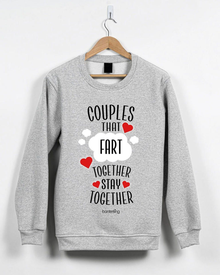 Couples That Fart Together Valentine's Jumper Jumper Inkthreadable Small Grey