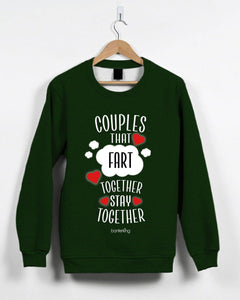 Couples That Fart Together Valentine's Jumper Jumper Inkthreadable Small Green