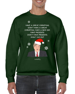 Don't Go Out Christmas Jumper Jumper BanterKing SMALL GREEN