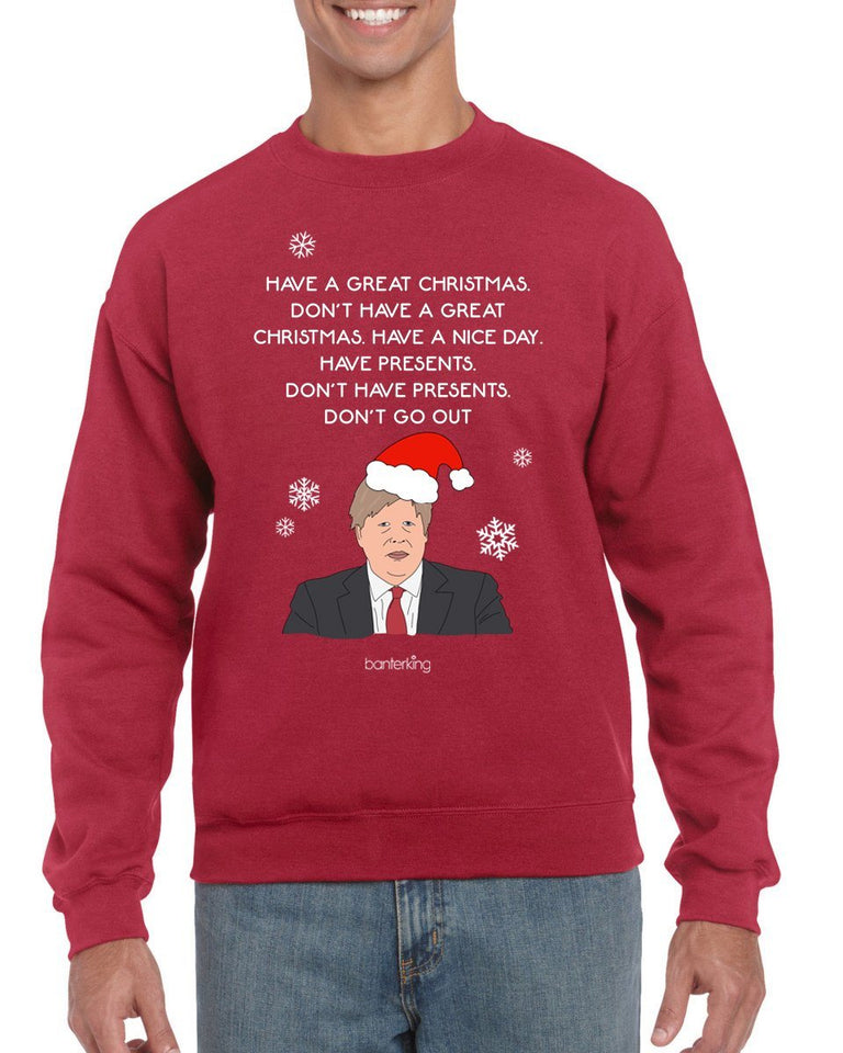 Don't Go Out Christmas Jumper Jumper BanterKing SMALL RED