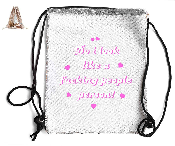DO I LOOK LIKE A PEOPLE PERSON! SEQUIN SPORTS BAG Sequin Bags BanterKing Rose Gold