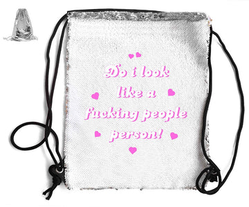DO I LOOK LIKE A PEOPLE PERSON! SEQUIN SPORTS BAG Sequin Bags BanterKing Silver