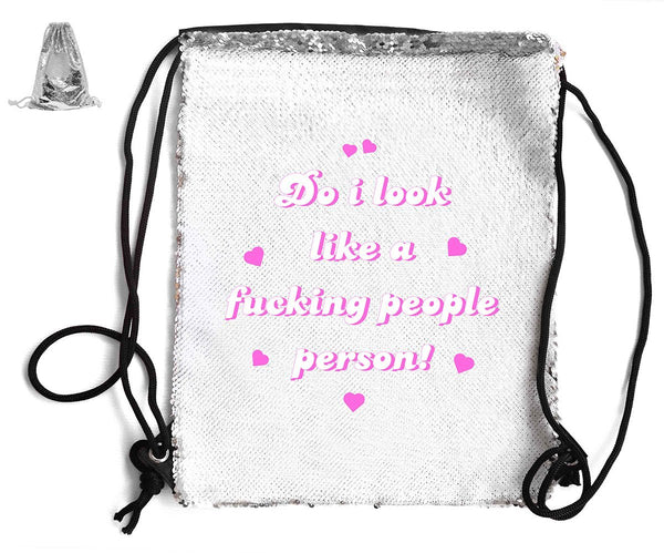 DO I LOOK LIKE A PEOPLE PERSON! SEQUIN SPORTS BAG Sequin Bags BanterKing Blue