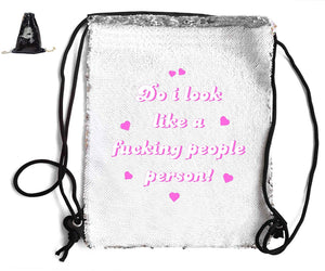 DO I LOOK LIKE A PEOPLE PERSON! SEQUIN SPORTS BAG Sequin Bags BanterKing Black